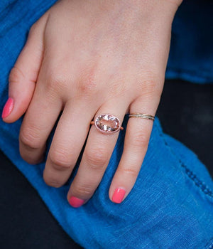 Oval Morganite Bezel Ring