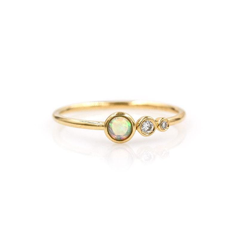 Opal Diamond Cascade Ring