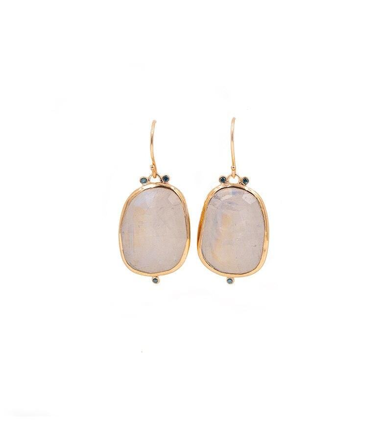 Large Moonstone Earrings with Blue Diamonds