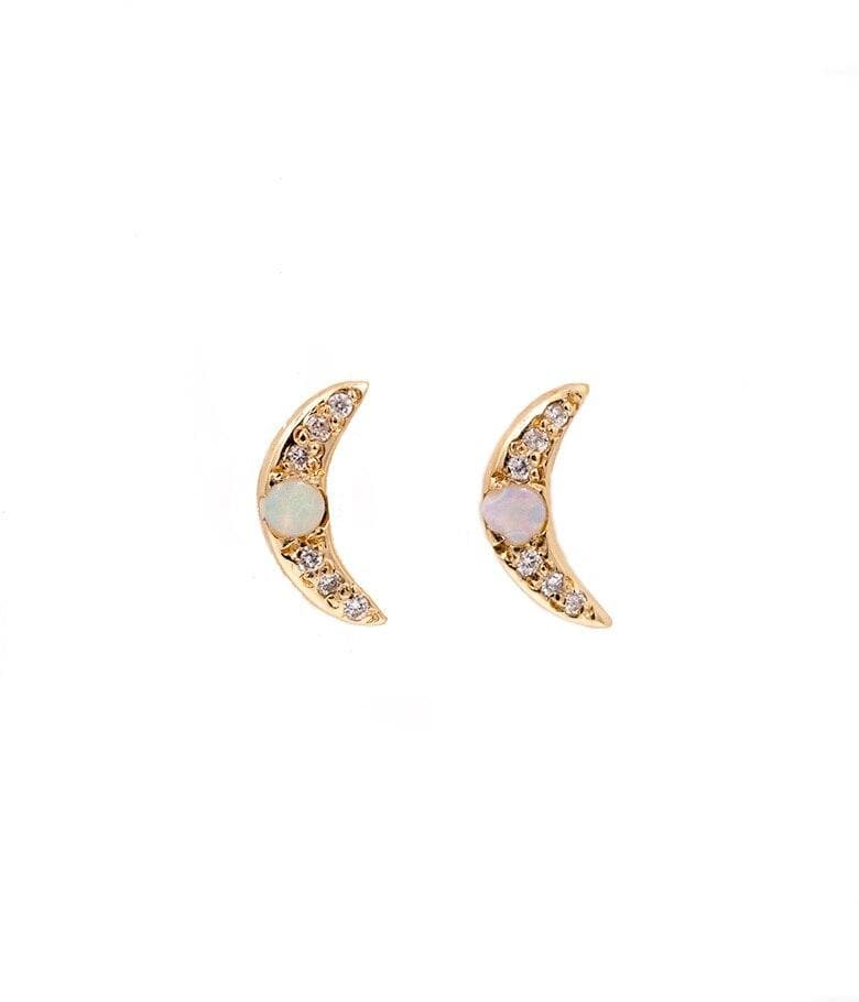 Opal Crescent Moon Earrings