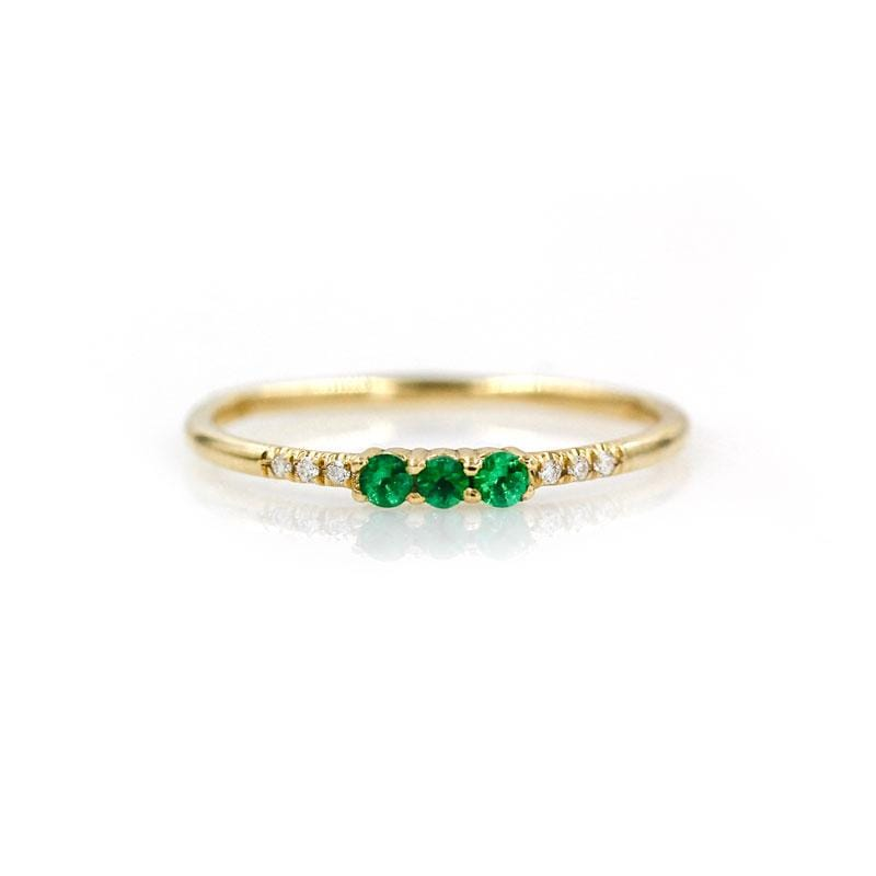 Triple Emerald Diamond Ring