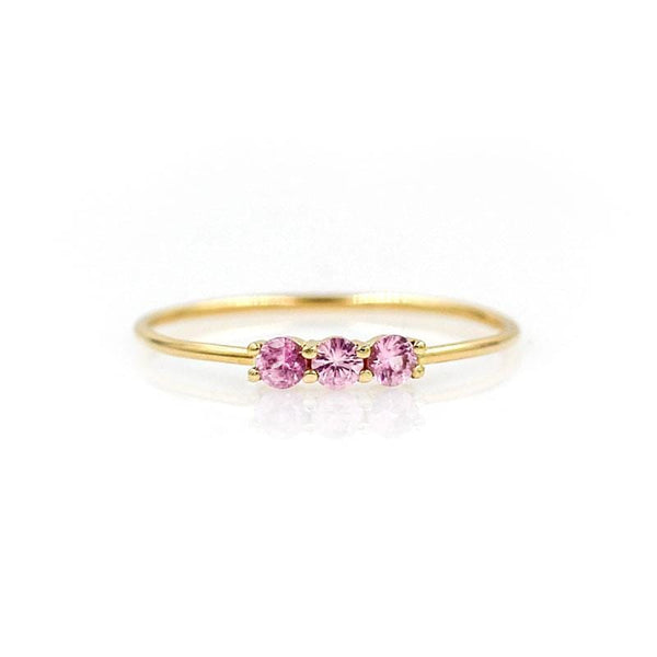 Pink Sapphire Trio Ring
