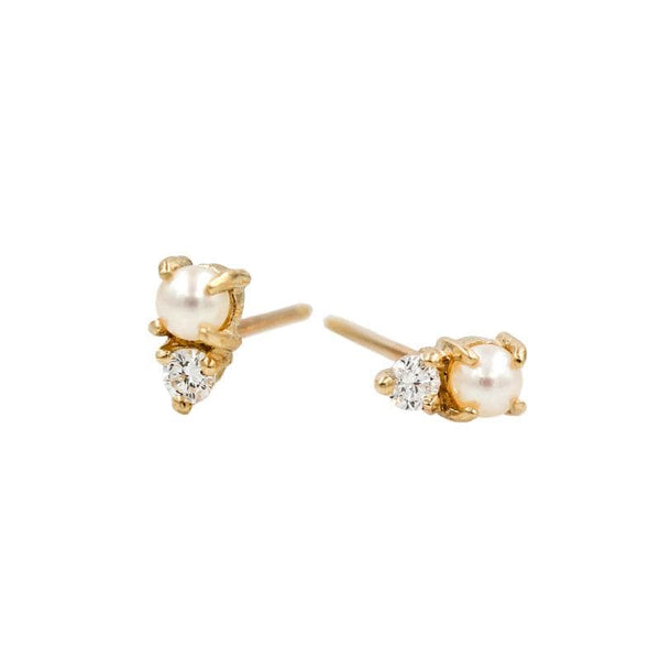 Pearl Diamond Stud