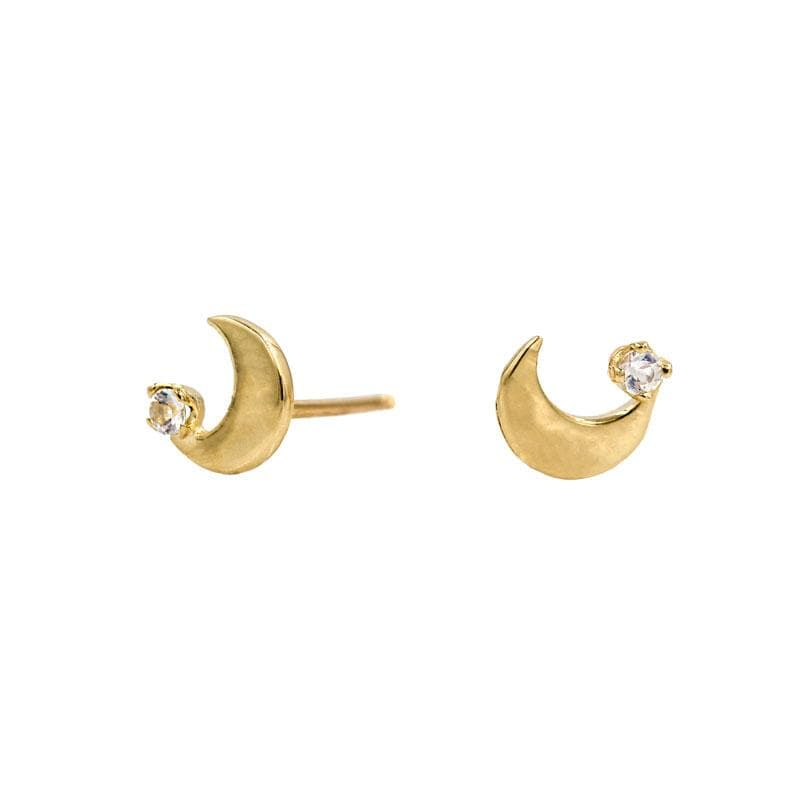 Moonstone Crescent Stud
