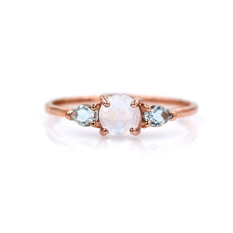 Rose Cut Moonstone Aquamarine Ring