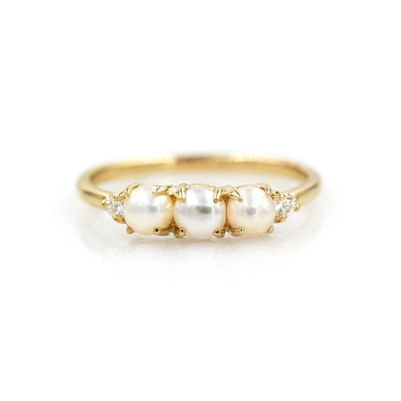 Triple Pearl Diamond Ring