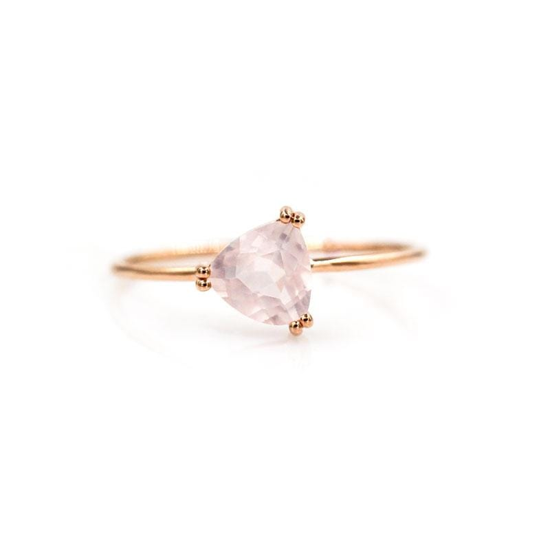 Trillion Rose Quartz Ring
