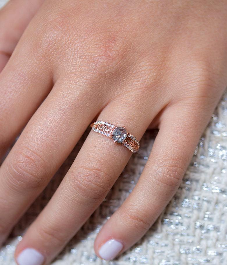 Hexagon Salt and Pepper Diamond Ring