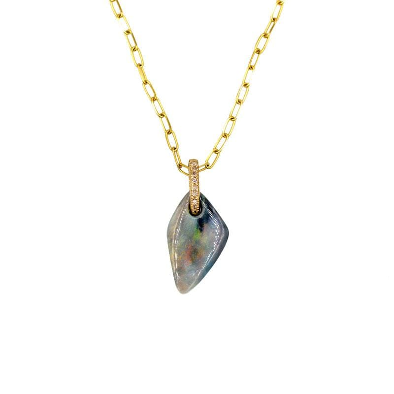 Morning Mist Opal Diamond Bail Necklace