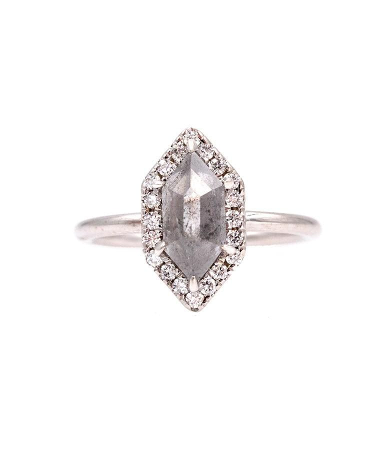 1.77 Ct Hexagon Grey Diamond Ring