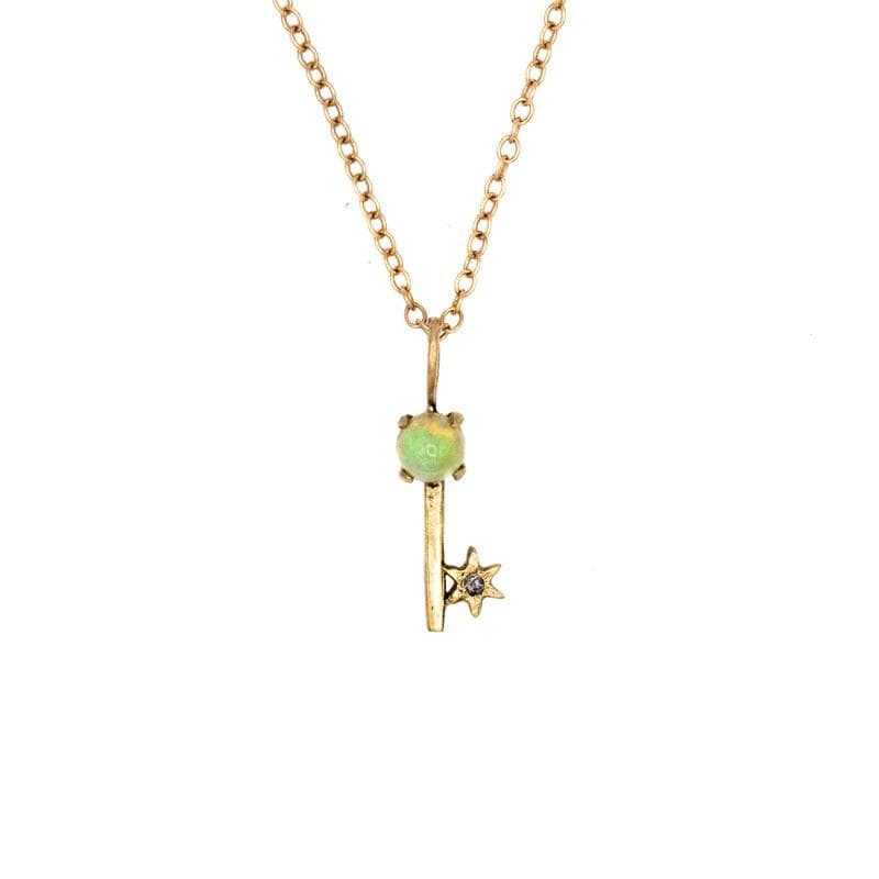 Opal Key Amulet Necklace