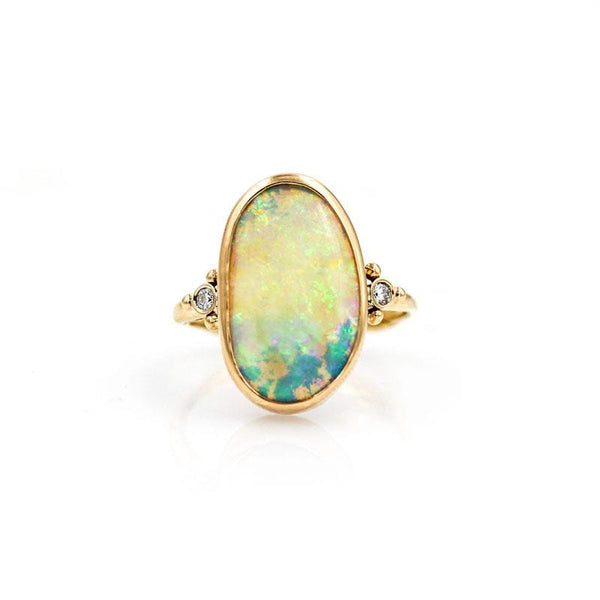 Large Oval Opal Diamond Ring