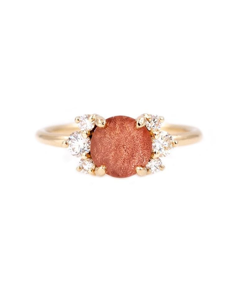 Yellow Gold Round Sunstone Diamond Ring