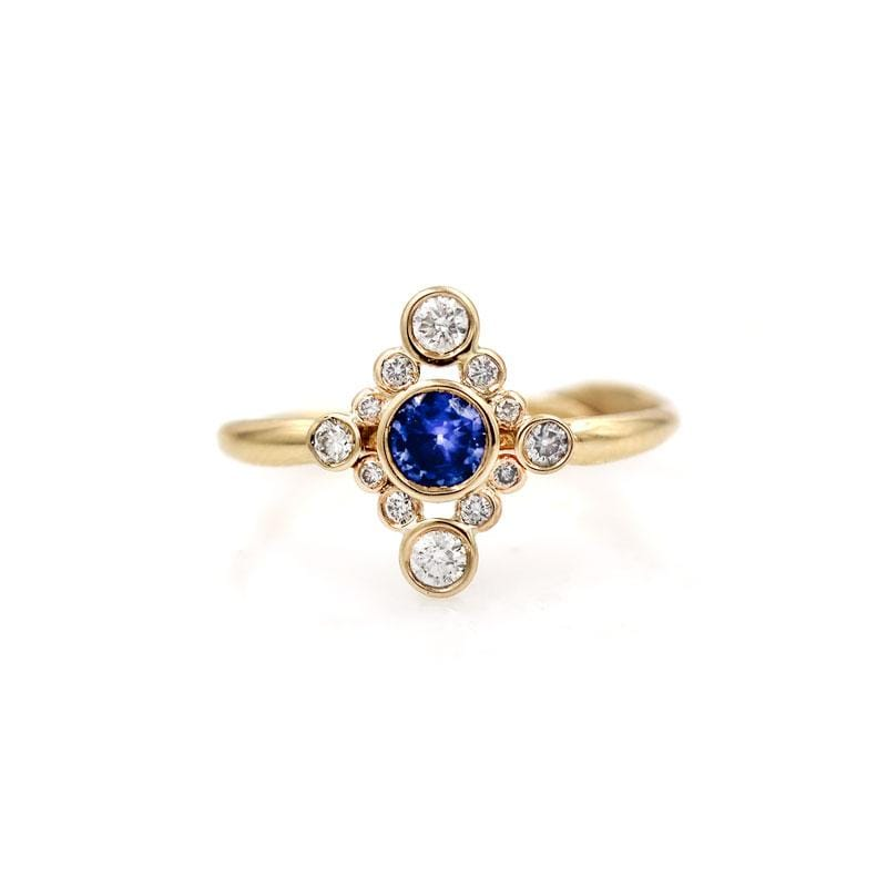North South Sapphire Diamond Cluster Ring