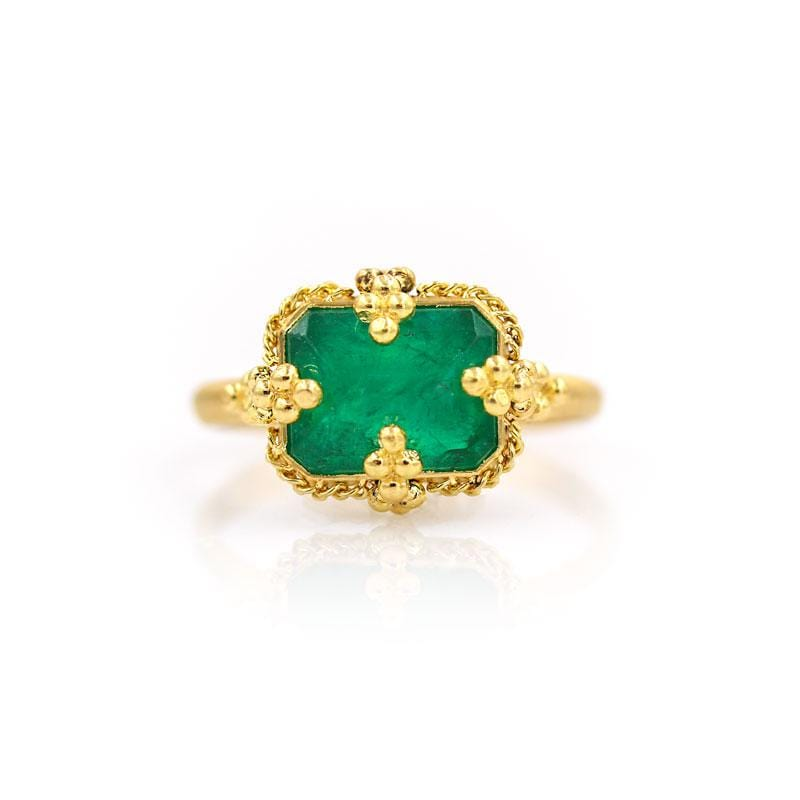 18k Square Emerald Ring