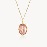18k Blushing Oval Morganite Necklace