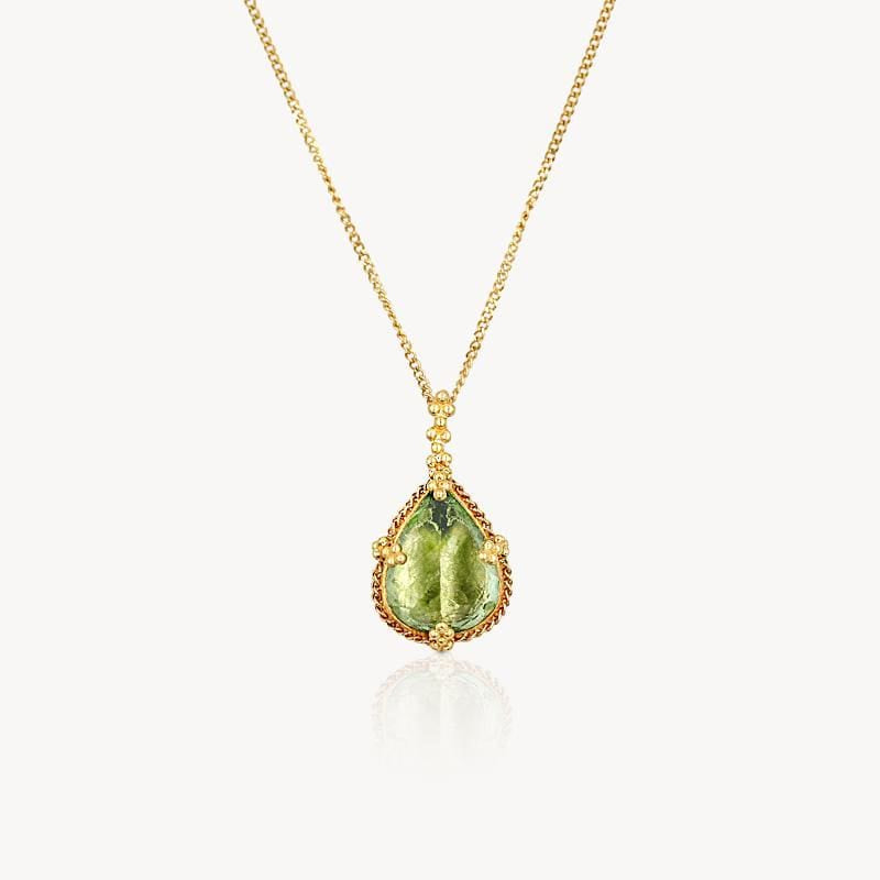 18k Teardrop Tourmaline Necklace