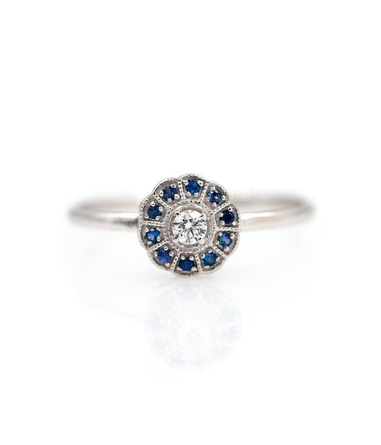 Blue Sapphire and Diamond Circle Ring - LoveAudryRose.com