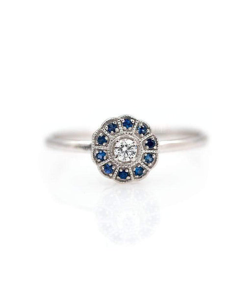 Blue Sapphire and Diamond Circle Ring*** - LoveAudryRose.com
