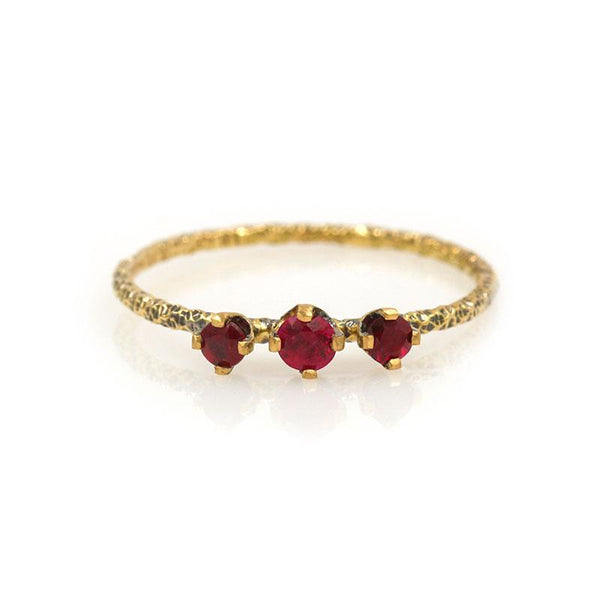 18k Twisted Triple Ruby Ring - LoveAudryRose.com