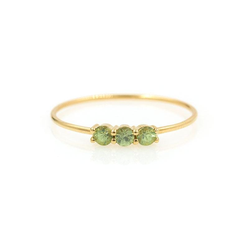 Green Sapphire Trio Ring - LoveAudryRose.com
