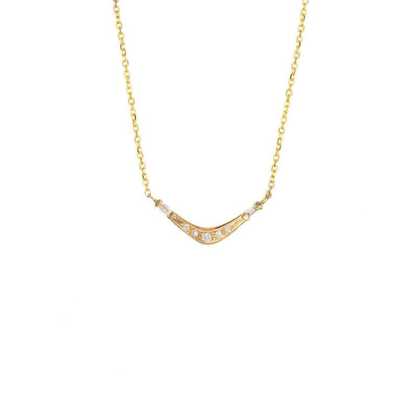 Baguette and Pave Diamond Wave Necklace - LoveAudryRose.com