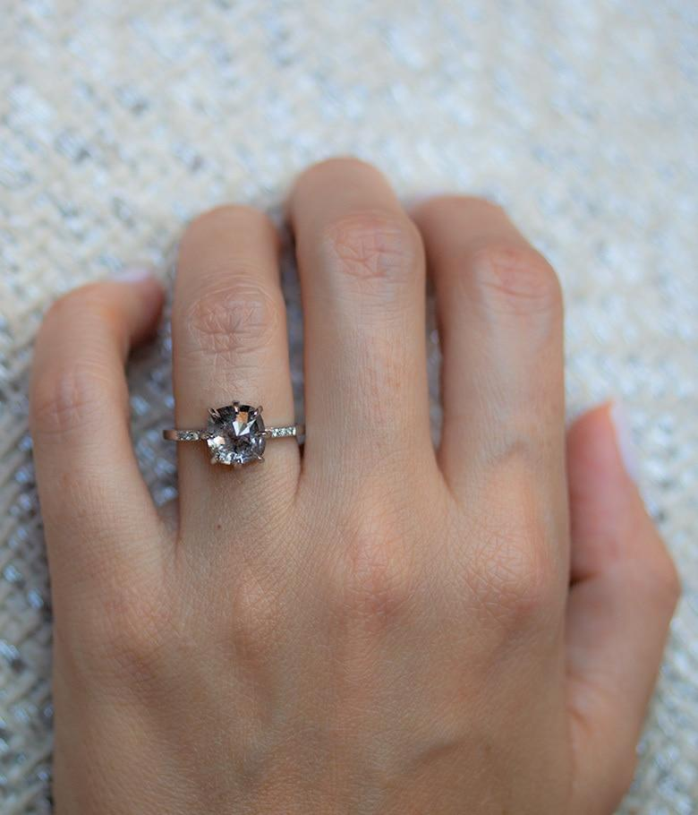 3.34 Ct Salt and pepper Speckled Diamond Ring