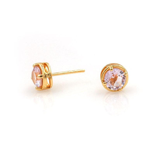 Pink Amethyst Stone Studs - LoveAudryRose.com