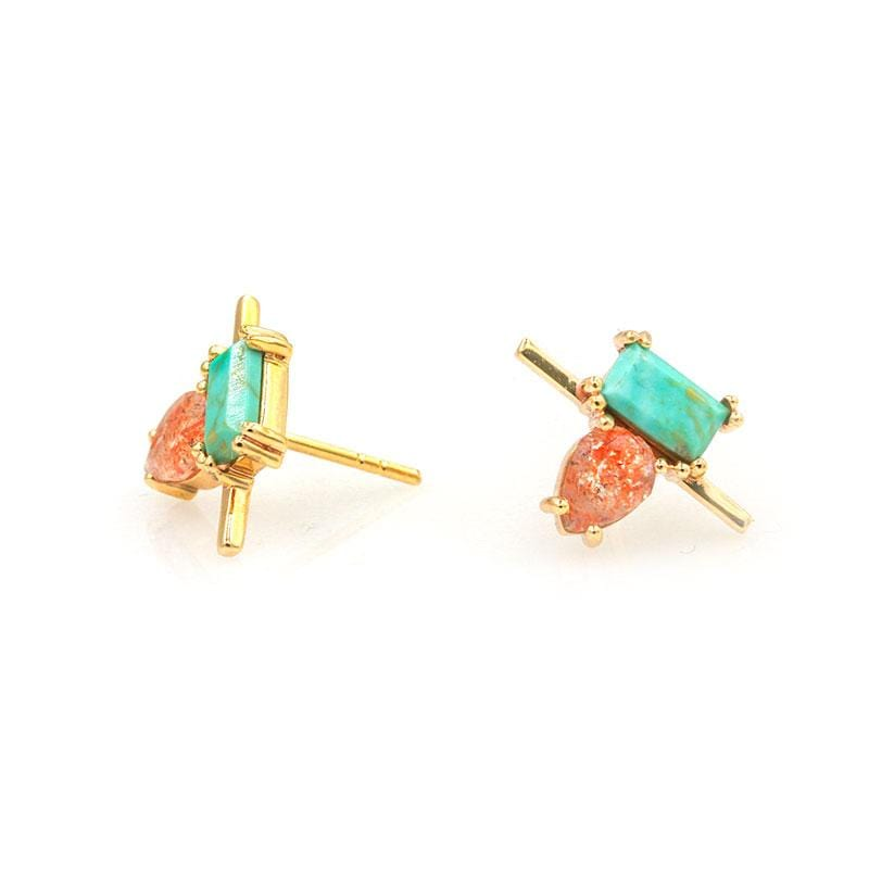 Green Turquoise and Sunstone Studs - LoveAudryRose.com
