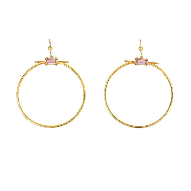 Pink Amethyst Hoop Earrings - LoveAudryRose.com
