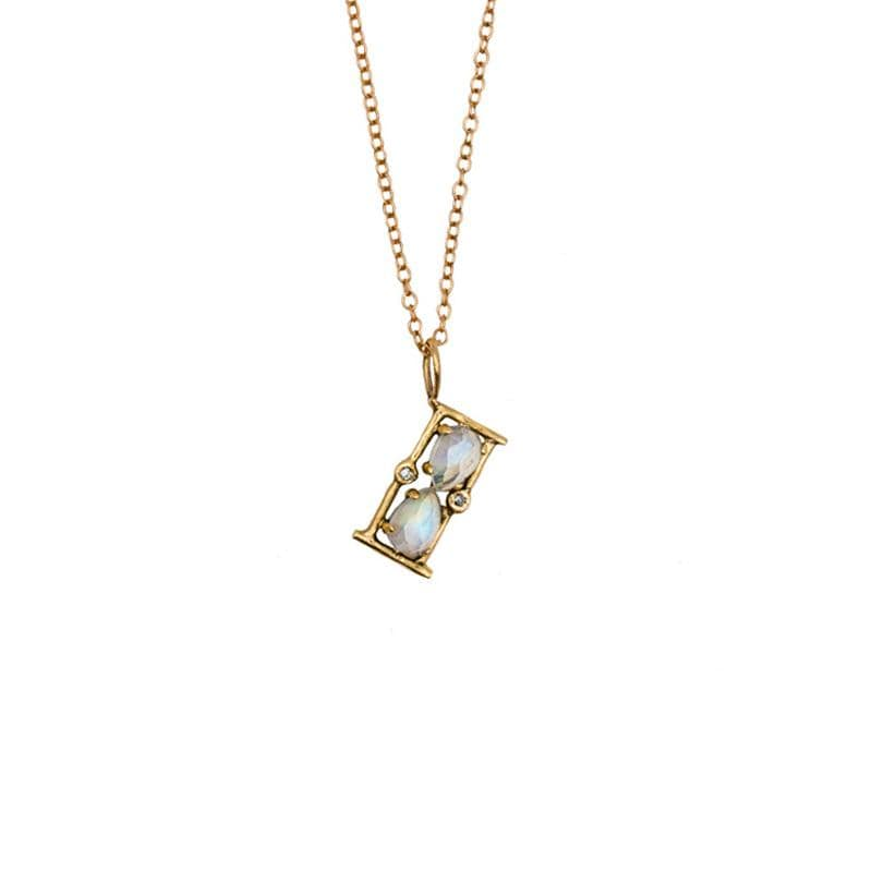 Moonstone Amulet Hourglass Necklace