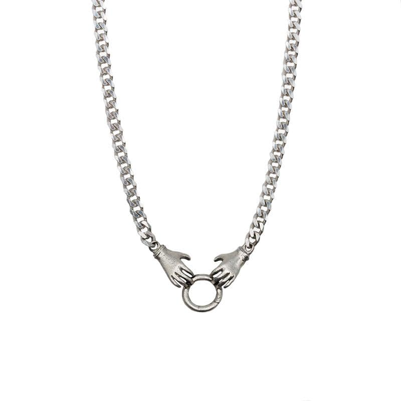 Sterling Double Hand Charm Holder Necklace