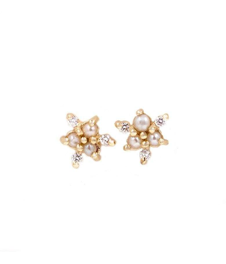 Dainty Pearl with Diamond Snowflake Studs*** - LoveAudryRose.com