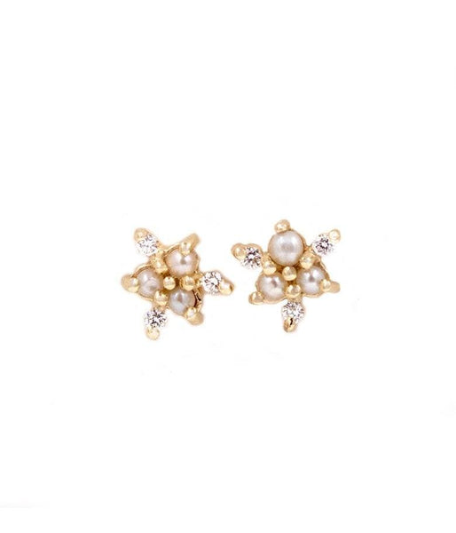 Dainty Pearl with Diamond Snowflake Studs - LoveAudryRose.com