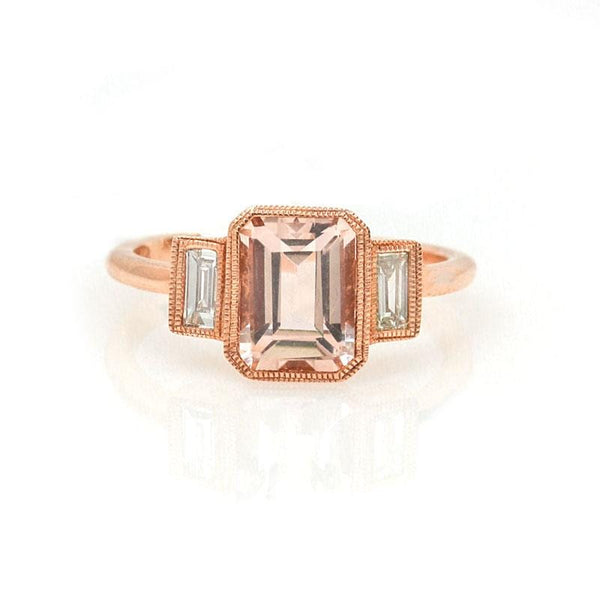 Morganite Diamond Blockette Ring - LoveAudryRose.com