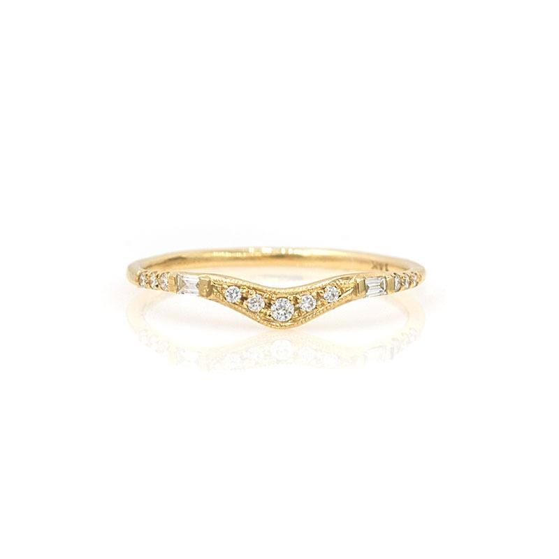 Baguette and Pave Diamond Wave Ring - LoveAudryRose.com