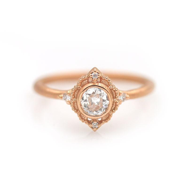 18k Rose Gold Round Diamond Ring - LoveAudryRose.com