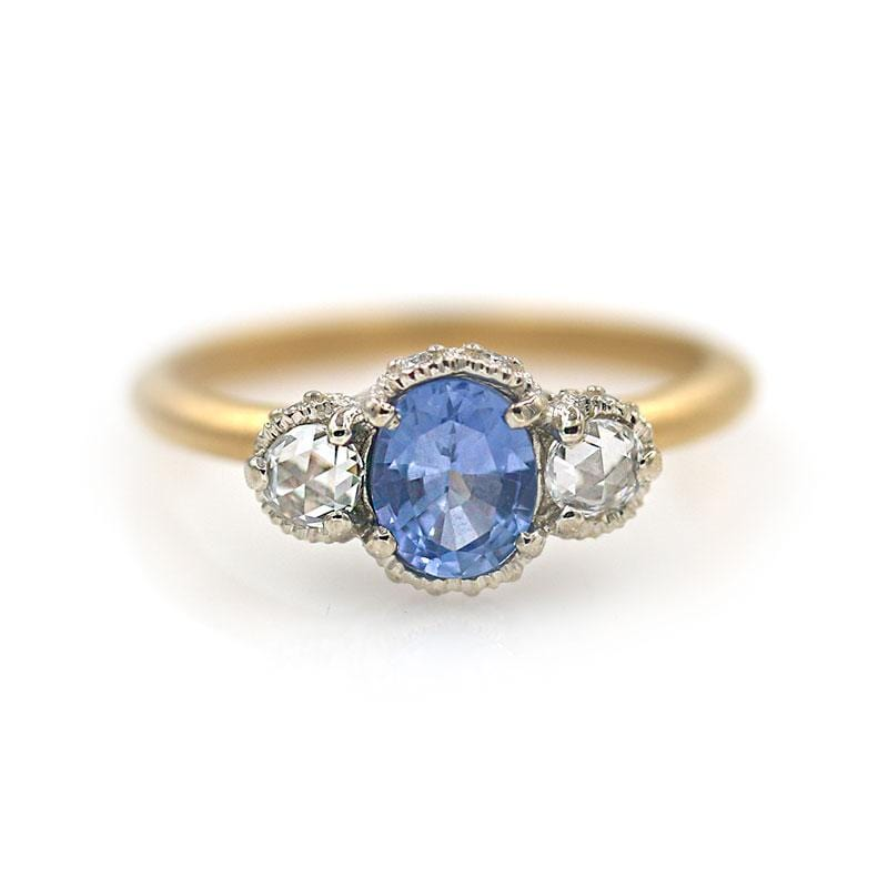 18k Two Toned Round Sapphire Diamond Ring - LoveAudryRose.com