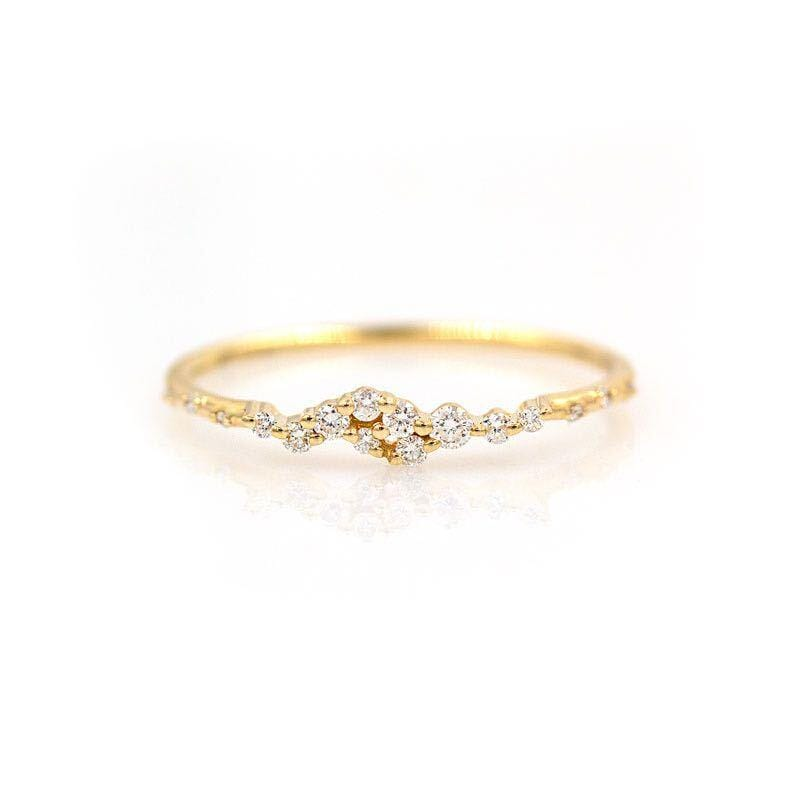 Starry Diamond Cluster Ring