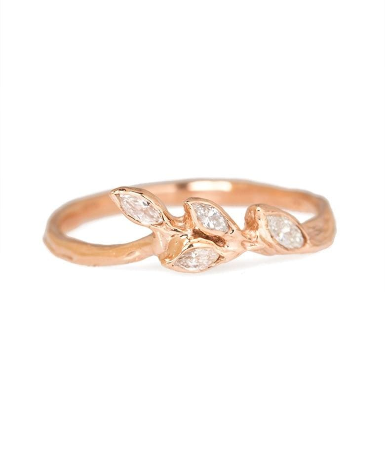 Rose Gold Diamond Leaf Ring