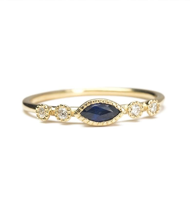 Marquise Sapphire Dew Ring