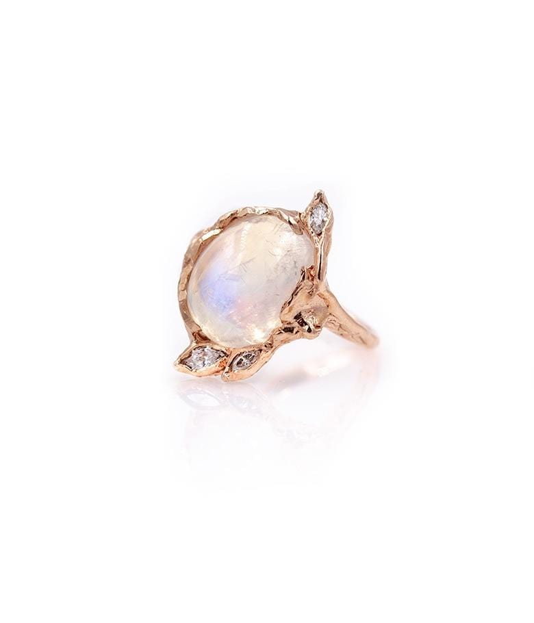 Moonstone Diamond Leaf Ring