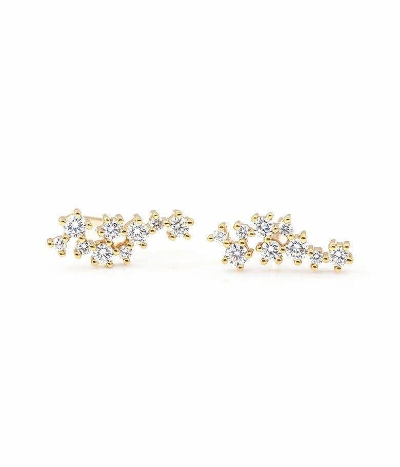 Large Asymmetrical Diamond Cluster Studs