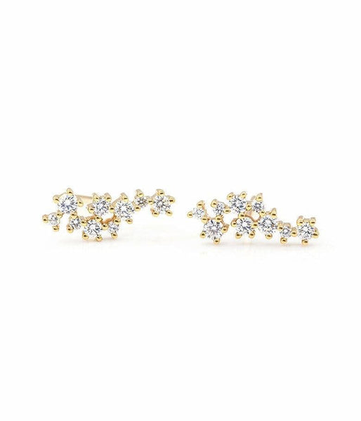 Large Asymmetrical Diamond Cluster Stud Earrings - LoveAudryRose.com