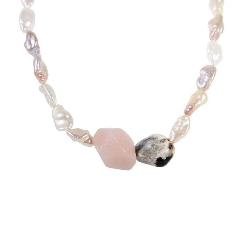 Rose Quartz Jasper Keshi Pearl Necklace* - LoveAudryRose.com