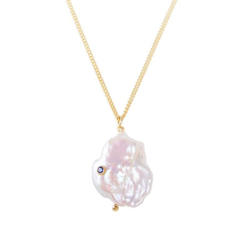 Keshi Pearl Sapphire Necklace - LoveAudryRose.com