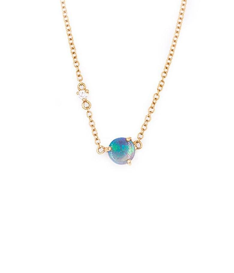 Opal Sparkly Moon Necklace