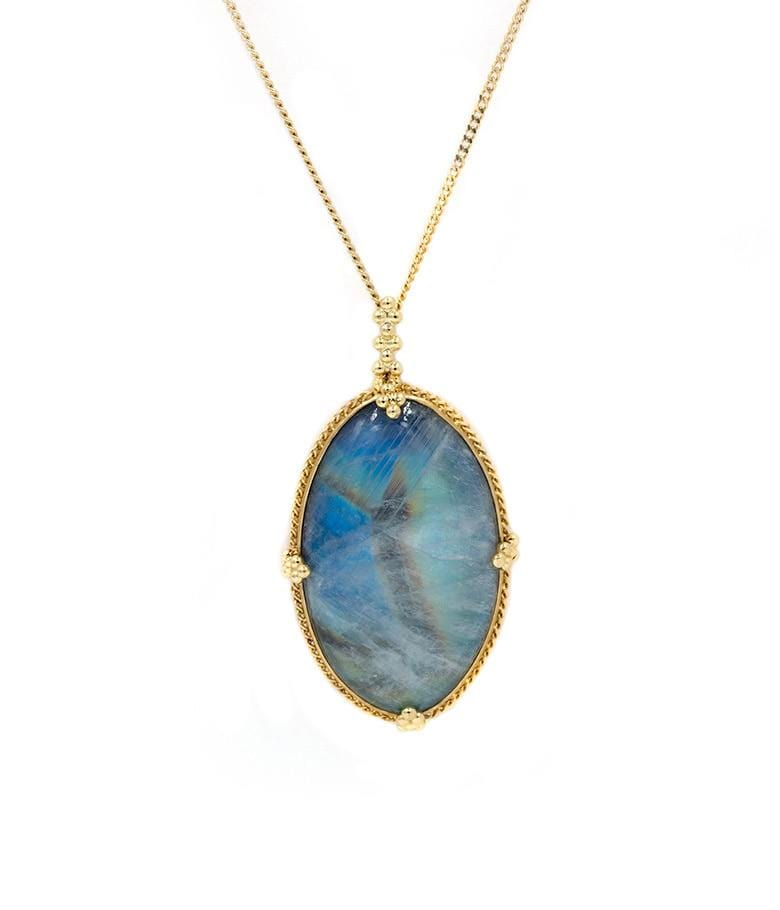 18k Blue Oval Moonstone Necklace