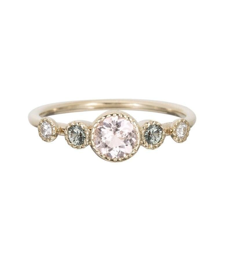 Morganite Green Sapphire Diamond Ring