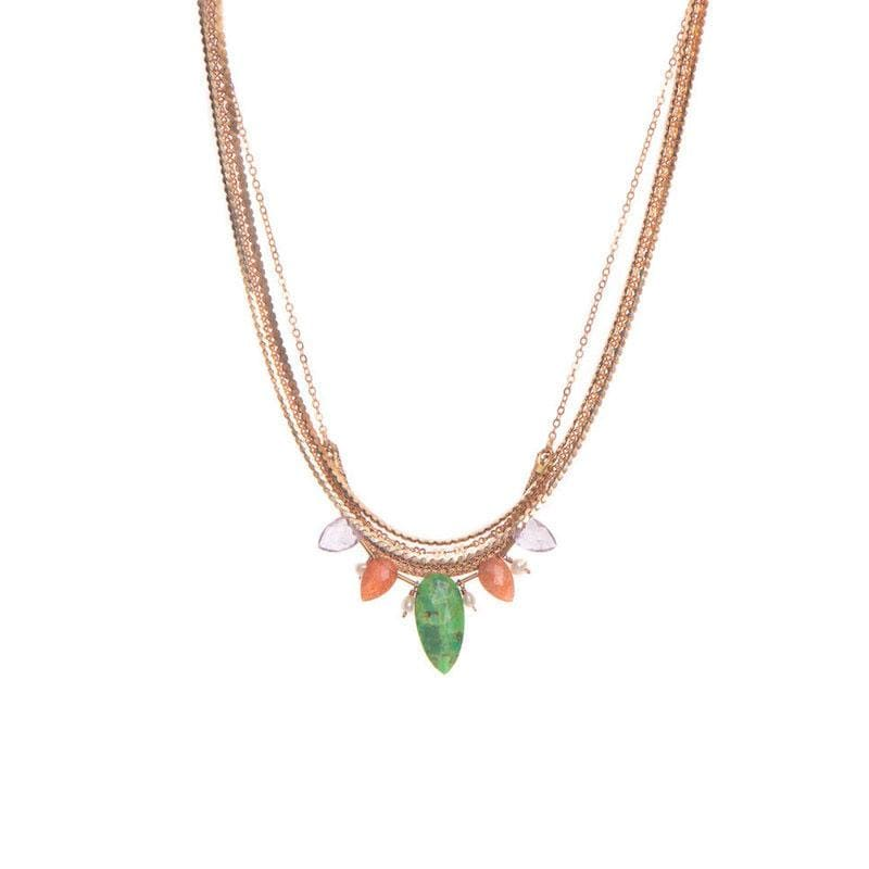 Layered Gemstone and Pearl Necklace - LoveAudryRose.com